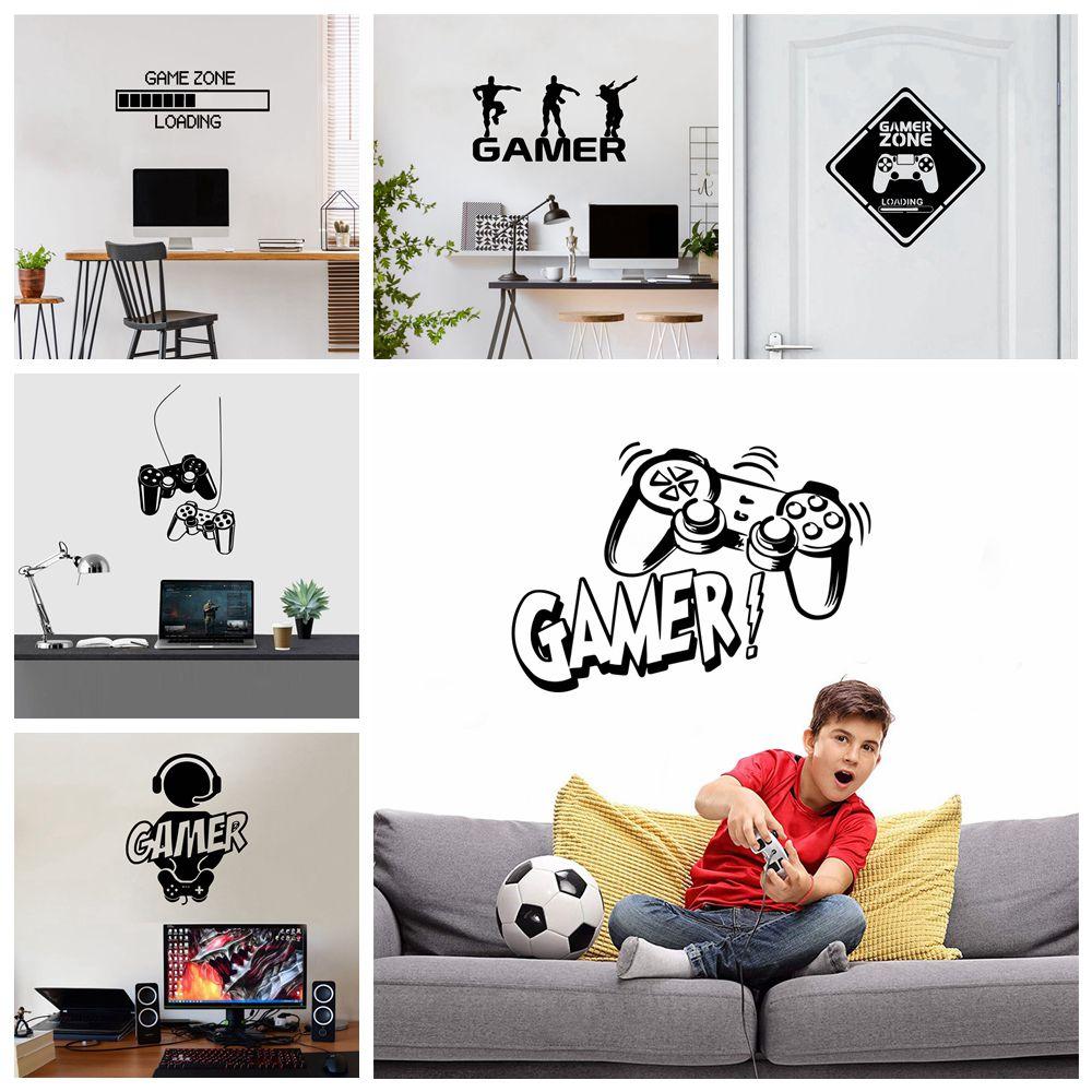 Carved Gamer Vinyl Wall Sticker game room For Kids Room Decoration Wall Murals boys bedroom Decor gaming poster wallpaper