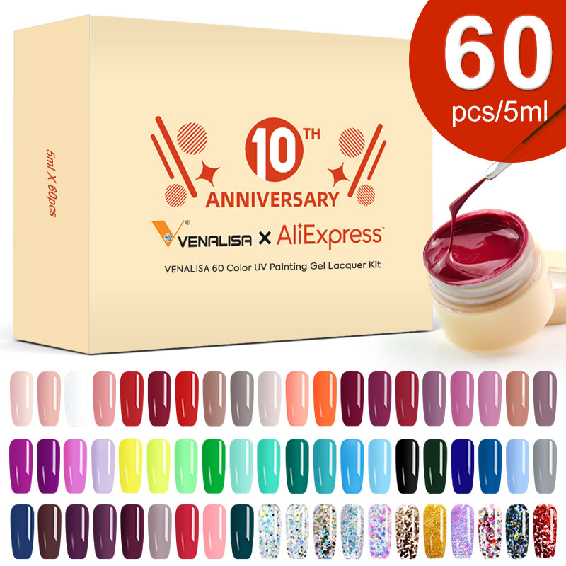 Venalisa UV Gel Nail Art Tips Design Manicure 60 Color UV LED Soak Off DIY Paint Gel Ink UV Gel Nail Polishes Lacquer 60 Pcs Kit