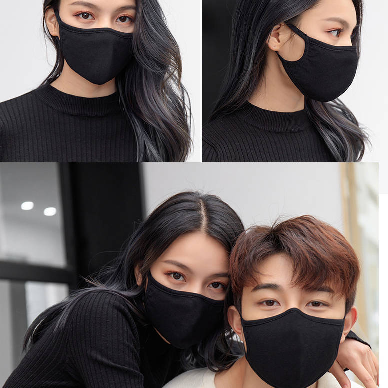 1PC Unisex Black Mask Soft Cotton Winter Breathing Mask Anti-Dust Earloop Mouth Face Cover Outdoor Riding