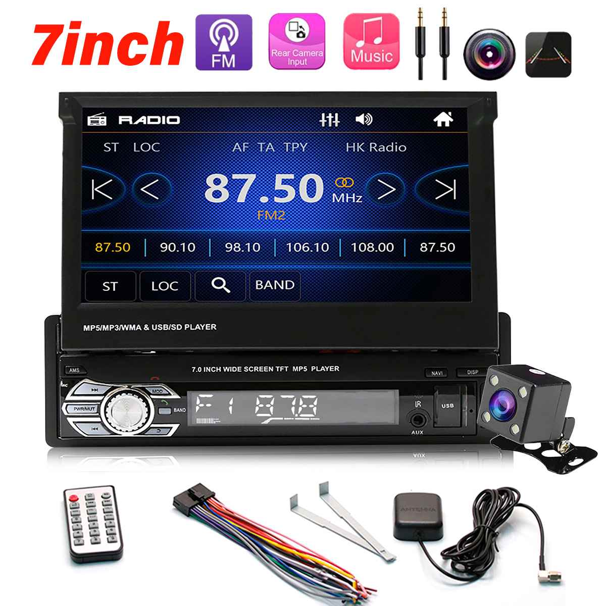 1 din 7 jogador de radio do carro universal autoradio video mp5 player estereo audio gps