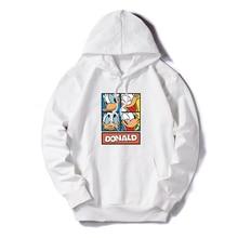 New Women Hoodies Autumn Winter Plus Size Daisy Donald Duck Cartoon Print Long Sleeve Pocket Pullover  Casual Hooded Sweatshirt