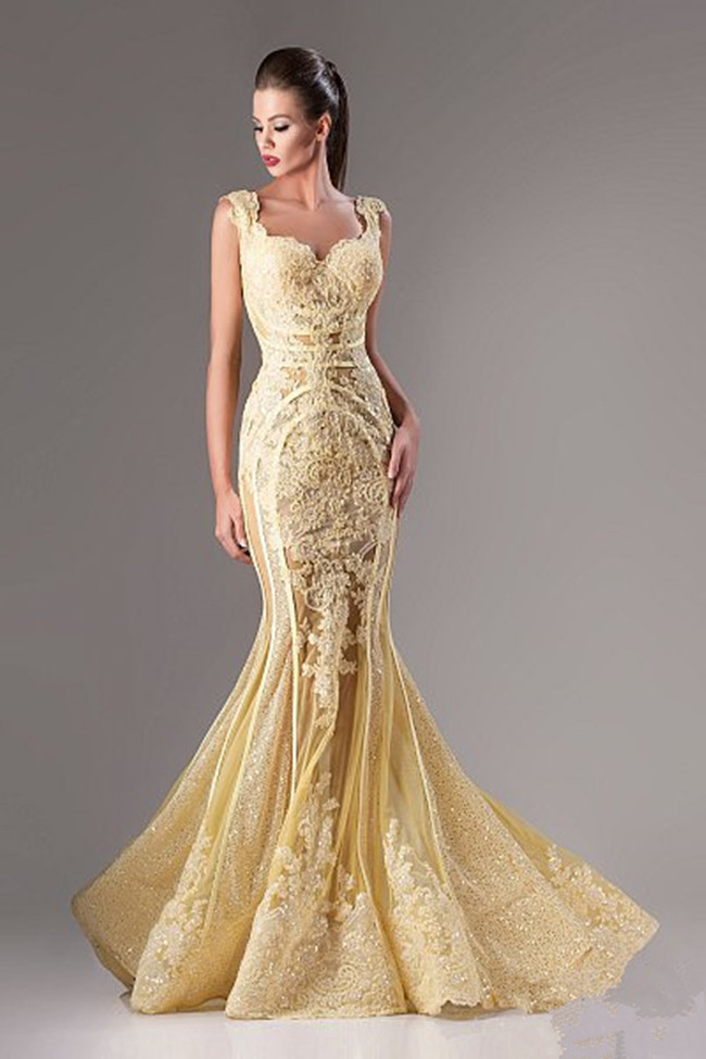 Hot Appliqued Evening Gown By Hanna Toumajean Long Yellow Mermaid Prom Dress 2015 Sheer Back