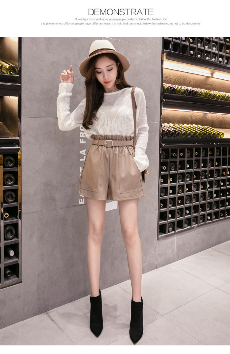 Elegant Leather Shorts Fashion High Waist Shorts Girls A-line  Bottoms Wide-legged Shorts Autumn Winter Women 6312 50 53