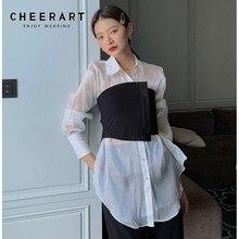 Ladies Blouses CHEERART Clothing Tunic Long-Shirt White-Lantern-Sleeve Korean Women Transparent-Top