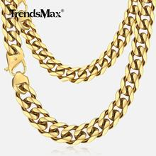Trendsmax 13/15MM Gold 316L Stainless Steel Necklace for Men Boy Heavy Chain Curb Cuban Link Necklace Hip Hop Jewelry Gift HNM24(Hong Kong,China)