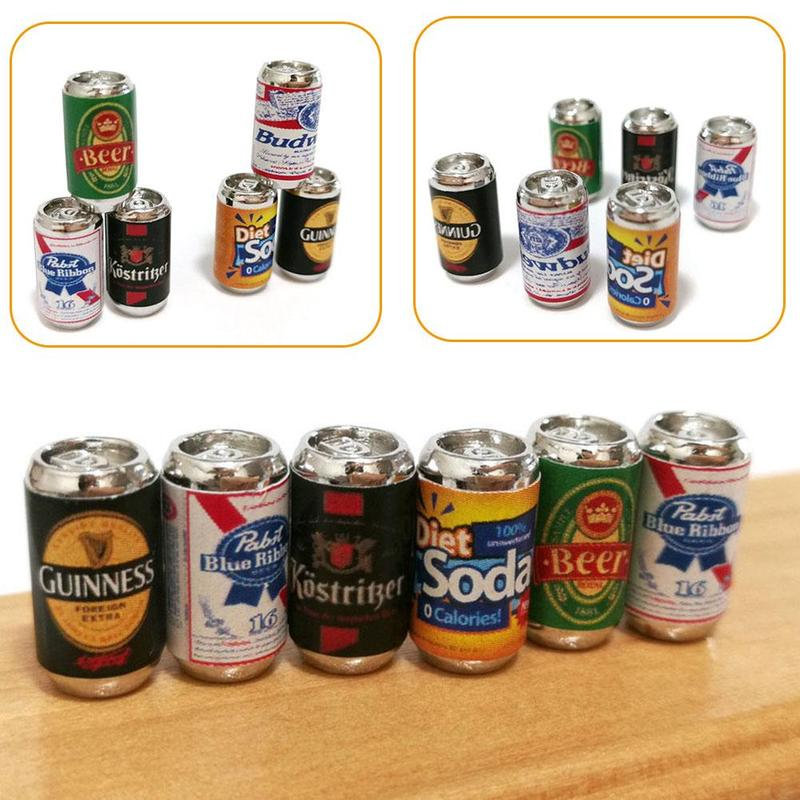 1:12 Dollhouse Scene Decoration 6pcs/set Simulation Mini Beer Bottle Model Dollhouse Accessories DIY Dollhouse Beer Can Toys