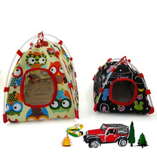 Pet Bird Parrot Tent House Canvas Fabric Bed Cave Cage Hammock Mini Animal Supplies S/L Size