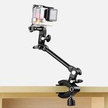 10 Inch Adjustable Magic Arm + Super Clamp Smartphone Clip for GoPro Hero 8 7 6 5 4 Yi 4K Sjcam Eken for Go Pro Accessory аксессуар крепление на грудь eken gp136 для gopro hero eken