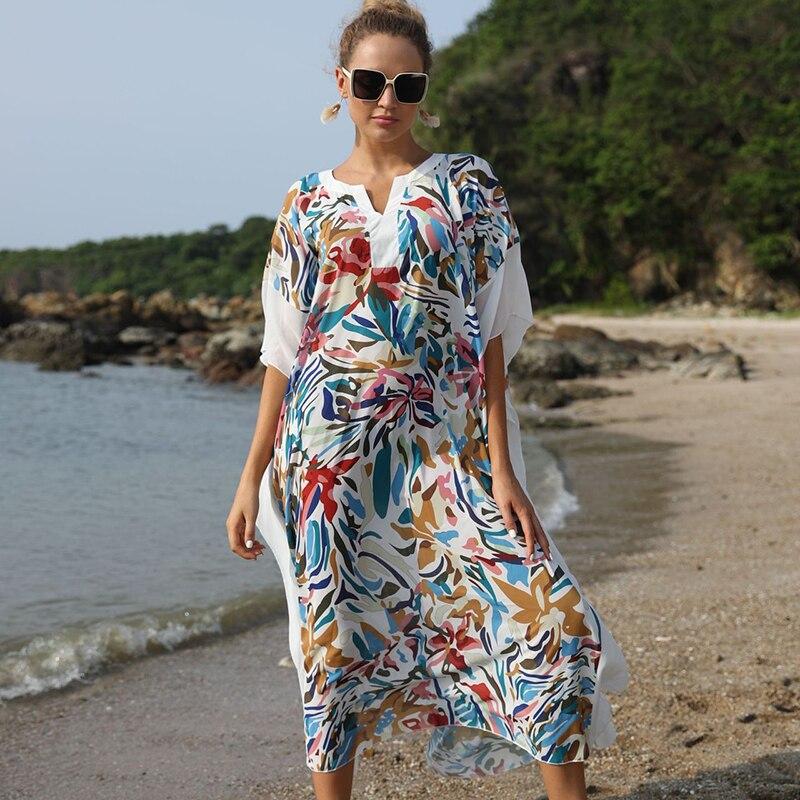Sexy Bohemian Maxi Dress Plus size Long Cover ups Beach Tunic Pareo de Plage Bathing Suit cover ups Beach Wear Swimsuit cover up
