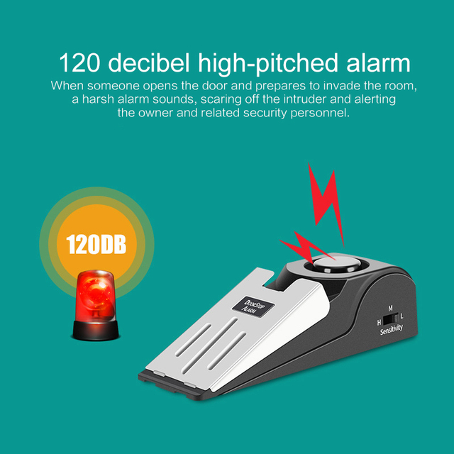 Holiday House Alarm-Block Stopper-Alert Door-Stop Security-System Home Wireless Triggered Vibration 2