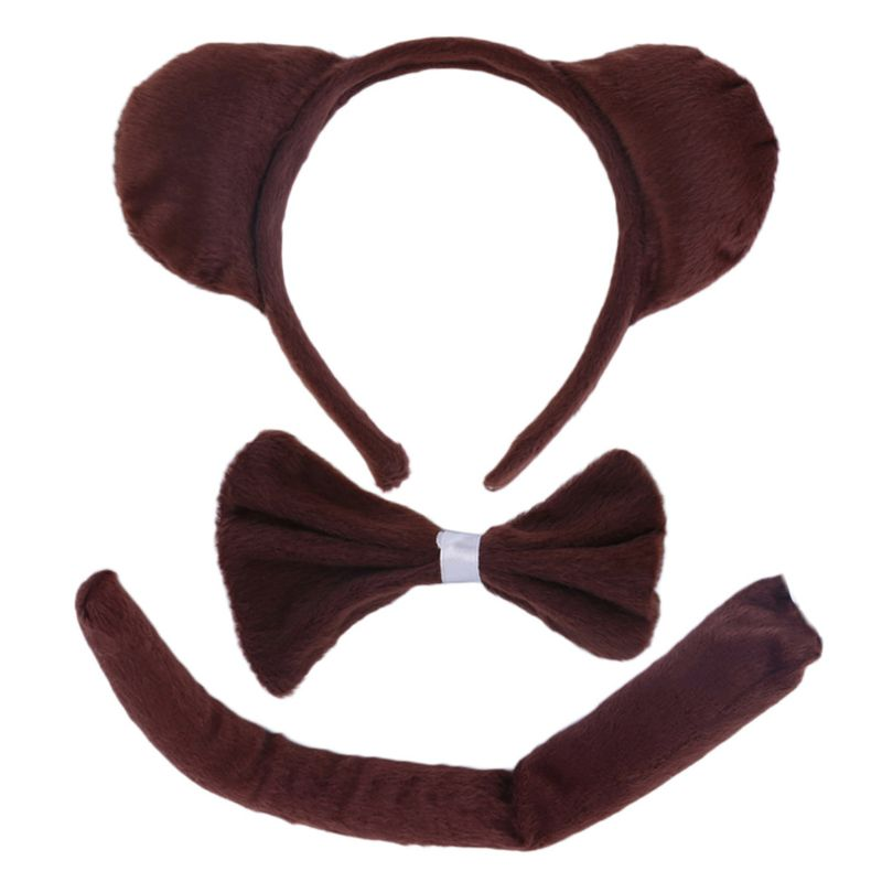3Pcs Child Adult Animal Costume Sets Cute Mouse Ears Headband Bow Ties Long Tail Halloween Birthday Party Favors Cosplay Kit