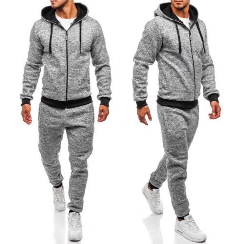 US Men Tracksuit Jogging Hoodies Coat Jacket Trousers Pants Gym Sweat Suit Set