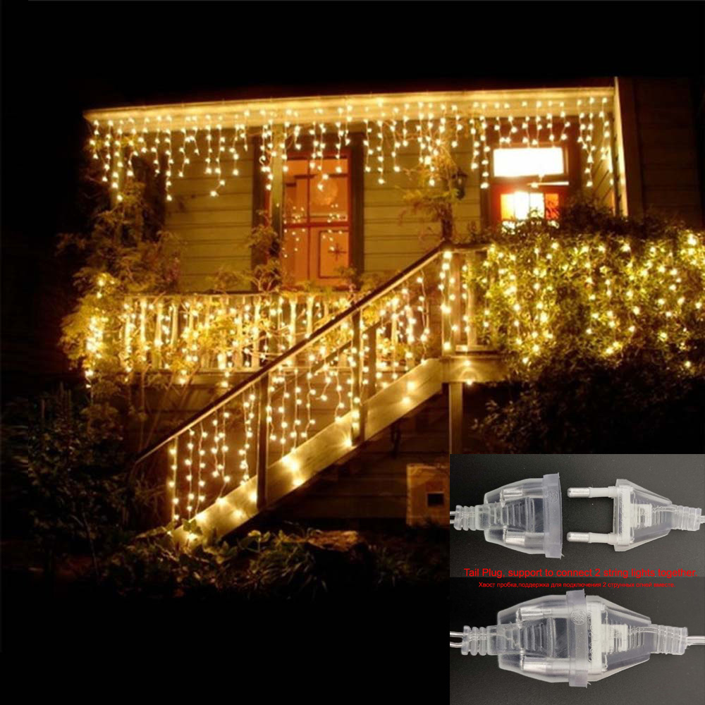 Conectable 4M Guirnalda Cortina Icicle String Lights Luces de hadas Lámparas de Navidad Icicle Light Garden Wedding Party Decoration