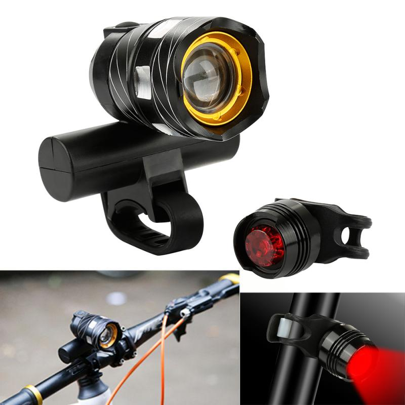 MTB LED Light Super Bright Front And Rear Light Set 15000LM Bicycle Light USB Rechargeable Night Safety Protection Warning Light