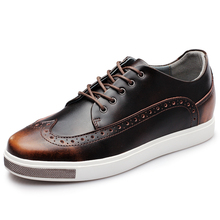 YOUQIJIA Men Elevator Casual Shoes 6 CM Height Increasing Genuine Leath