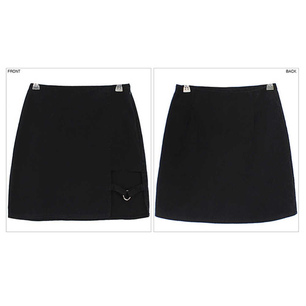 Koreanischen Stil Schwarz Paket Hüfte Röcke Unregelmäßigen Saum Bleistift Micro Rock Sexy Dünne Frauen Bodycon Party Röcke Schwarz
