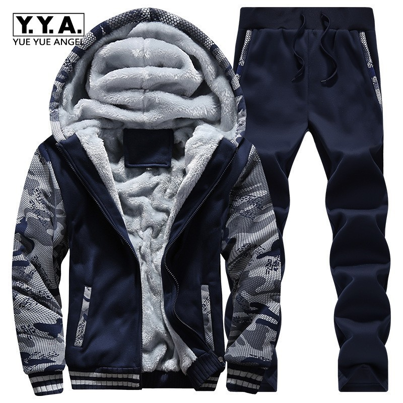Winter Fleece Lining Warm Mens Suits Hooded Coat Fashion Printed Male Tracksuit Casual Thick Outwear Clothing Jacket+Pants Sets