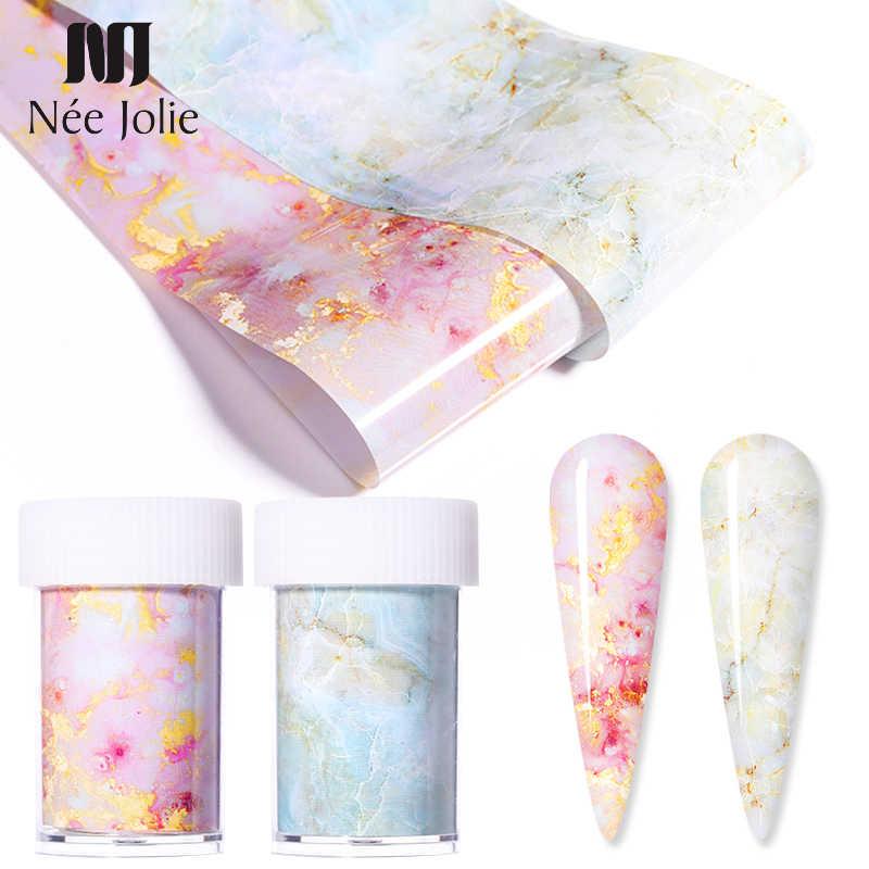 1 กล่อง 4*100 ซม.ชุดหินอ่อนเล็บฟอยล์สีชมพูฟอยล์ Bright Marble Nail Art Transfer สติกเกอร์กระดาษ DIY ไอเดียเล็บเคล็ดลับ