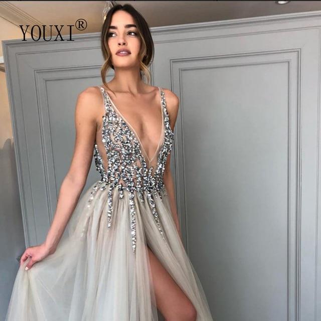 Beading Prom Dresses Long 2021 V Neck Light Gray High Split Tulle Sweep Train Sleeveless Evening Gown A-Line Backless Vestido De 6