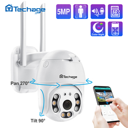 Techage WIFI IP Camera 5MP PTZ Speed Dome 1080P Outdoor Wireless AI Security Camera 2MP Full Color Night Two Way Audio P2P ONVIF