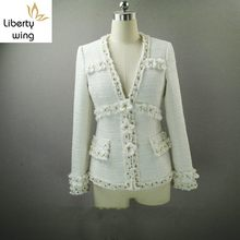 Top Brand Women High Quality Tweed Coat Flowers Aapplique White Lady Slim Fit Jacket Twill Spliced Pearls Beading V Neck Jackets(China)