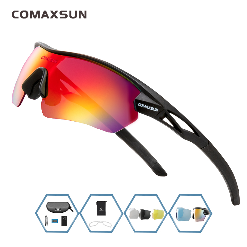 COMAXSUN Professional Polarized Cycling Glasses Bike Goggles Outdoor Sports Bicycle Sunglasses UV 400 With 5 Lens TR90 2 Style 13