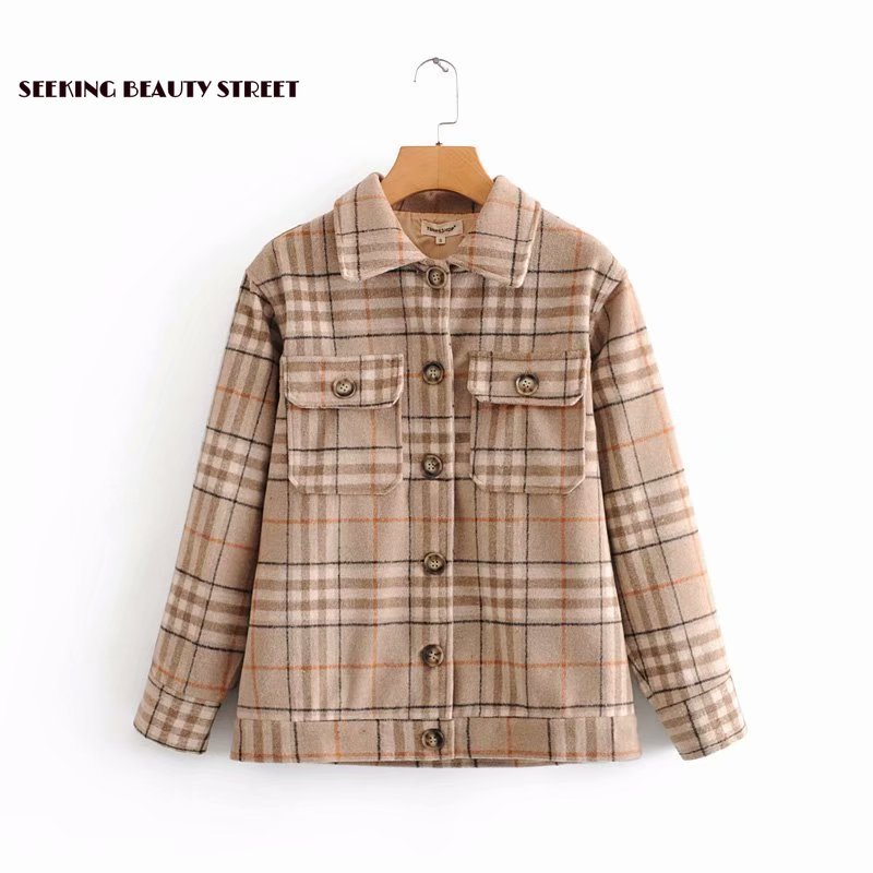 New Plaid woolen jacket for autumn and winter of 2019 womens tops and blouses  plaid blazer  tweed blazer