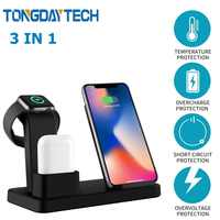 Tongdaytech 10W Qi Cargador inalámbrico para Iphone X 8 XS 11 Pro Max rápido Cargador rápido para los Airpods de Apple reloj 5 4 3 2 1 Cargador