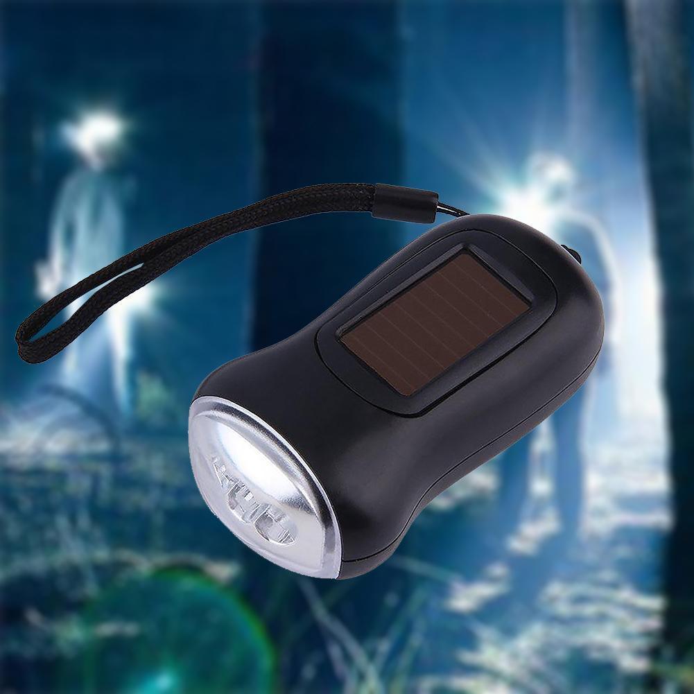 Mini Portable Hand Crank Dynamo LED Solar Powered Flashlight Camping Torch