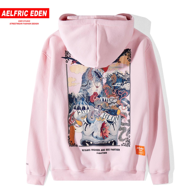 Aelfric Eden Funny Kirin Printed Men Hooded Sweatshirts 2019 Harajuku Casual Cotton Hoodie Tops Streetwear Fashion Male Pullover
