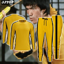 Plus size Mannen Geel Bruce Lee T-shirt Game Of Death lange Mouw T-shirt broek Kung Fu Master Dragon Tee shirt Chinese Kung-fu(China)
