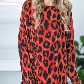 Women Leopard Print Top Turtleneck Vintage Blouse Long Sleeve Pullover Round Neck Blouse Shirt Casual Loose Tops Blusas Clothing ethnic plunging neck long sleeve print blouse for women
