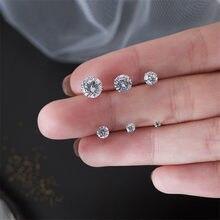 Brinco luokey redondo pequeno, brinco feminino piercing de zircônio aaa cz 3mm-8mm brilhante cristal jóias da orelha brincos