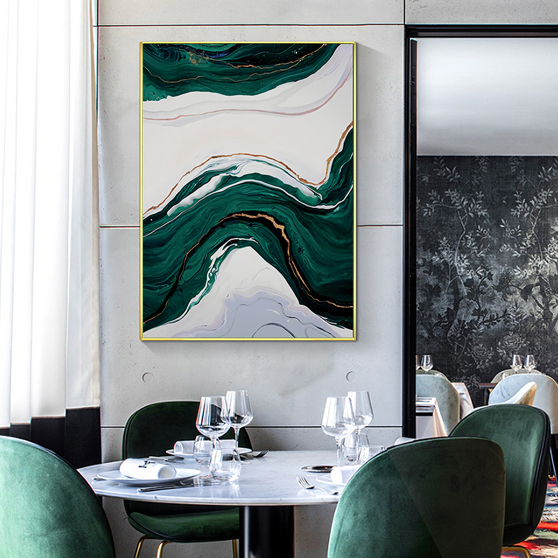 Nordic Abstract Morden Green Golden Lines Printed Picture Home Wall Art Living Room Bedroom Decoration Painting Canvas Poster