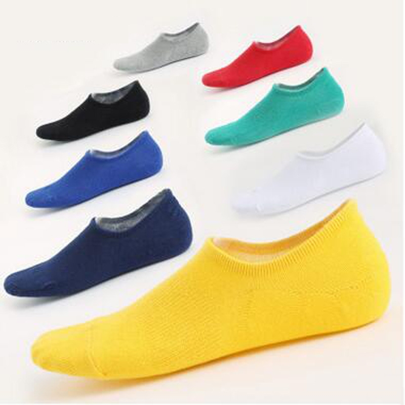 Fashion Sock Slippers Men Summer Thin Invisible No Show Cotton Black Solid Color Socks Male  Cotton Solid