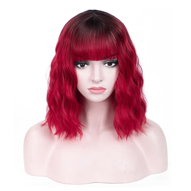 ao calor cosplay peruca de cabelo diário preto vermelho azul claro