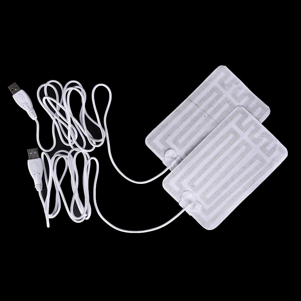 2pc 5V Carbon Fiber Heating Pad USB Heating Film Electric Infrared Fever Heat Mat Winter Warm Arm Waist Heat Glove
