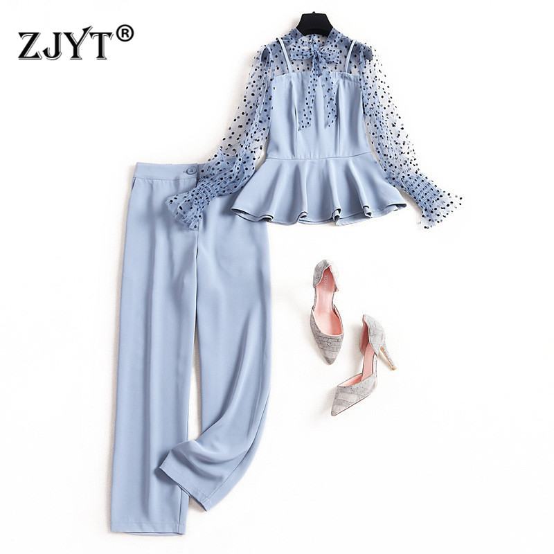2020 Spring Elegant Lady Pants 2Piece Set Women Fashion Long Sleeve Bow Neck Polka Dot Tulle Patchwork Top and Pants Suit Sets