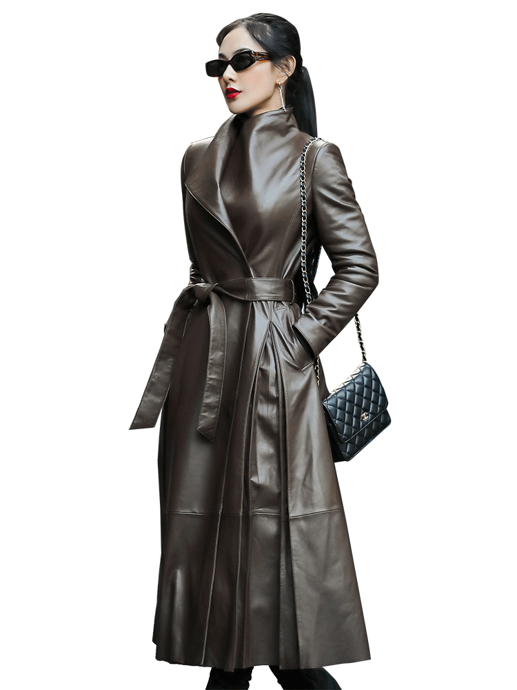 Nerazzurri Autumn long leather trench coat for women belt long sleeve skirted faux leather coat women