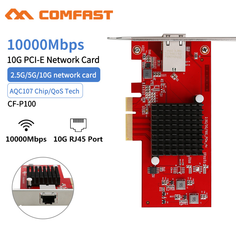 COMFAST CF-P100 AQC107 10G Ethernet PCI Express 3.0 Wireless Adapter 2.5G/5G/10G PCIE-X4 Network card 10Gbps Fast Transmission(China)
