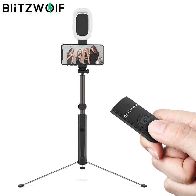 BlitzWolf BW-BS8L 3 In 1 Blue&tooth Selfie Stick LED Flash Long Extendable Multi-angle Rotation Tripod For IPhone X XR XS Max
