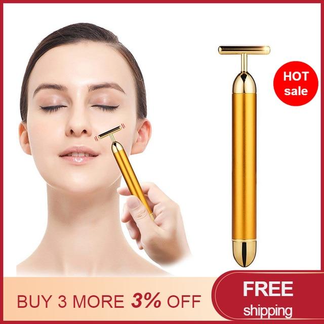 Mały rozmiar Energy upiększacz urządzenie do masażu twarzy rolka kosmetyczna do twarzy masażer wibracyjny Stick Lift napinanie skóry pasek zmarszczek