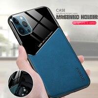 Stoßfest coque auf für iphone 12 mini fall leder textur auto magnetischer halter telefon abdeckung für iphone12 fall iphone 12 pro max