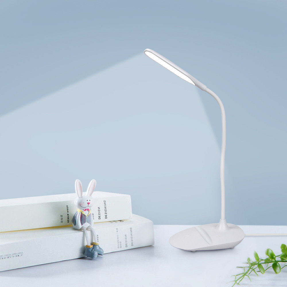 LED Desk Lamp Touch Control 3 Modes Brightness Eye-caring LED Table Lamp With USB Port Phone Holder For Home Reading