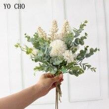 Йо Чо Свадебный букет Искусственный шелк Crabapple цветок букет невесты белый фиолетовый помпон лист эвкалипта свадебные принадлежности