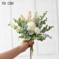 YO CHO Wedding Bouquet Artificial Silk Crabapple Flower Bridesmaid Bouquet White Purple Pompom Eucalyptus Leaf Wedding Supplies