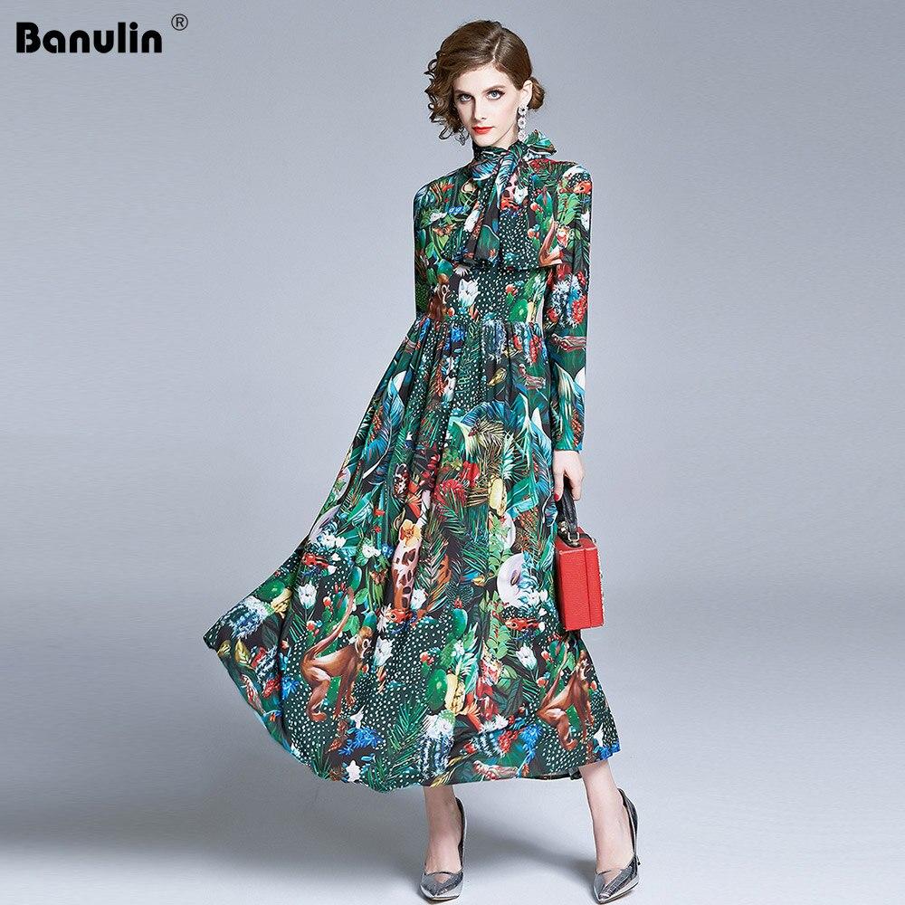 High Fashion Runway Dress 2020 New Spring Woman Clothes Elegant Lady Full Sleeve Floral Printing Long Chiffon Boho Beach Dress
