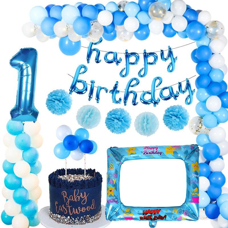 Латексный воздушный шар из фольги с номером для первого дня рождения, голубой, для маленьких мальчиков и девочек, украшения для первого дня ...