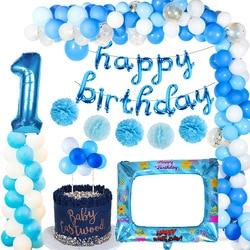 1 день рождения синие латексные воздушные шары, воздушные шары из фольги в виде цифр, украшения для маленьких мальчиков и девочек на первый д...