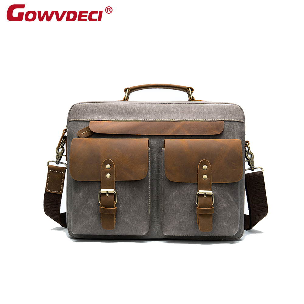 Genuine Leather European And American Fashion Retro Leather Handbag Neutral Business Briefcase Casual Trend Horizontal Men's Bag